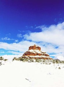 Bell rock in snow small