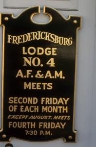 Fredericksburg Lodge plaque