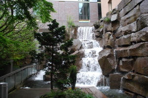 photo of the waterfall in waterfall gardens