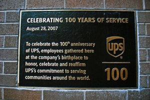 photo of plaque celebrating 100 years of service
