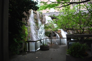 photo of the waterfall in waterfall gardens