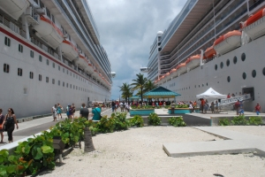 photo of two cruise ships docked in Nassau Bahamas