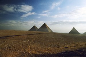 photo of the pyramids at sunrise
