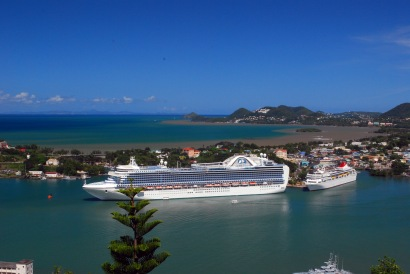 photo of cruise ships at St. Lucia