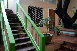 photo of green stairs